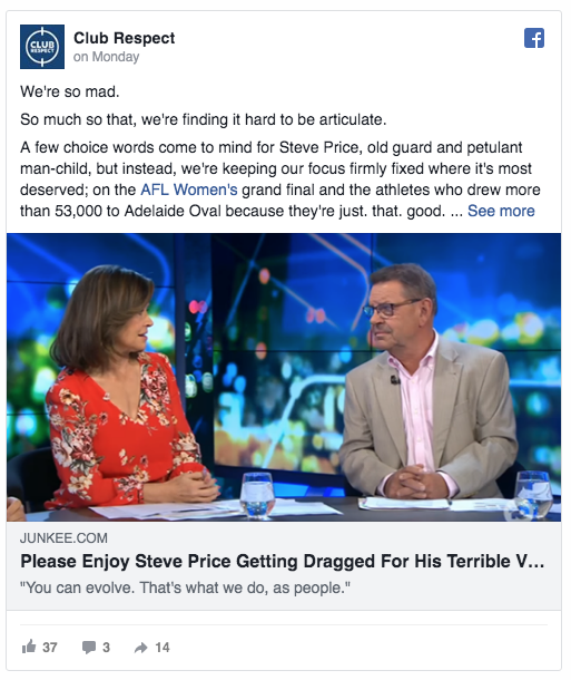 A screenshot of an Facebook article reposted by Club Respect, denouncing Steve Price's comments on The Project.