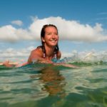 Surfing legend Layne Beachley swimming in the ocean