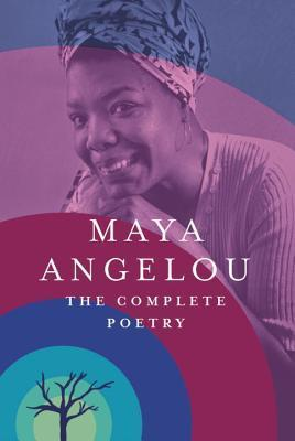 Image description: cover of Maya Angelou's book, The Complete Poetry. It features a photograph of Maya as a young woman, wearing a scarf around her head, smiling up at the camera. Over the top of the photograph is a rippling of semi transparent shapes in purple and blue.