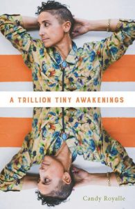 Image description: cover of Candy Royalle's book, A Trillion Tiny Awakenings. It features a photograph of Candy looking off to the side in a floral shirt, which is mirrored on the bottom.