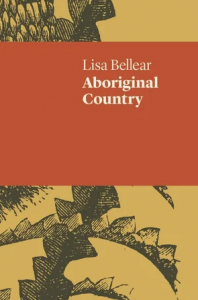 Image description: cover of Lisa Bellear's book, Aboriginal Country. It features a terracotta strip through the upper middle and at the top and bottom of the cover, an etching of organic shapes can be seen. It's partially obscured.
